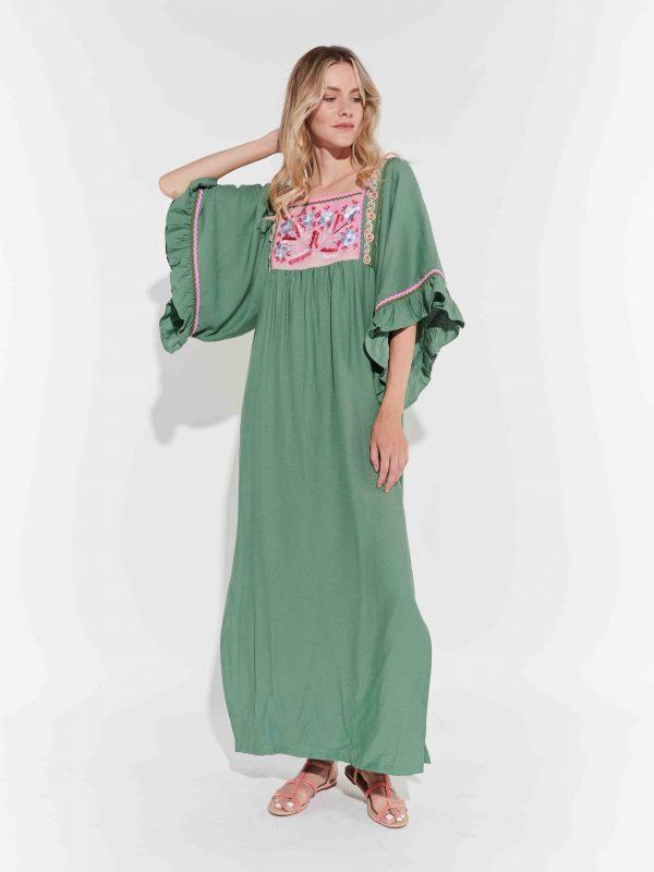 Retro, su yeşili tasarım keten yırtmaçlı elbise