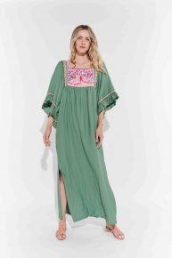 Koyu su yeşili keten yandan yırtmaçlı tasarım elbise