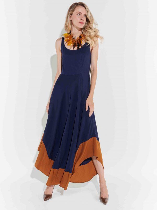 Maksi poplin elbise 70'ler tasarım
