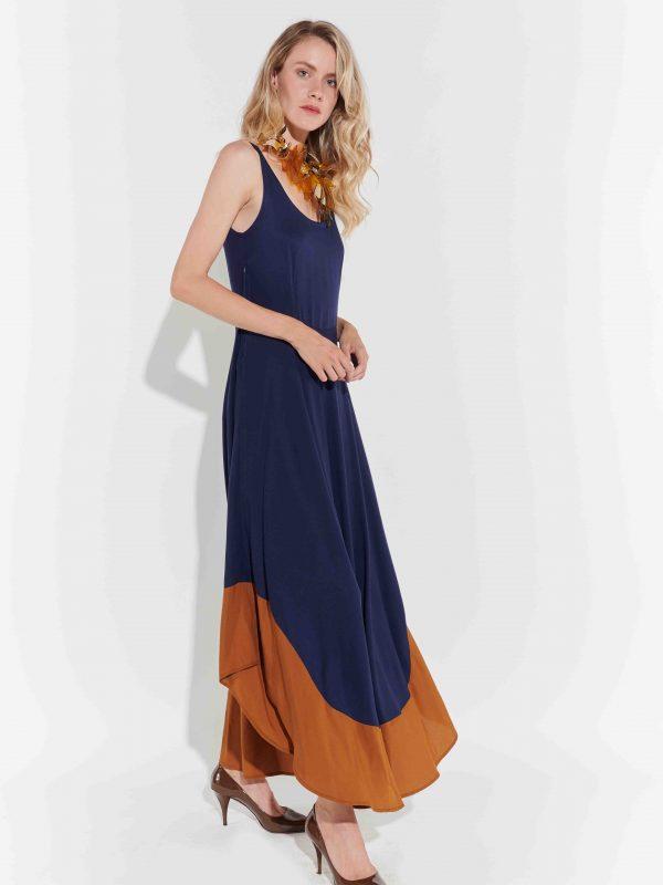 Maksi poplin elbise 70'ler tarzı