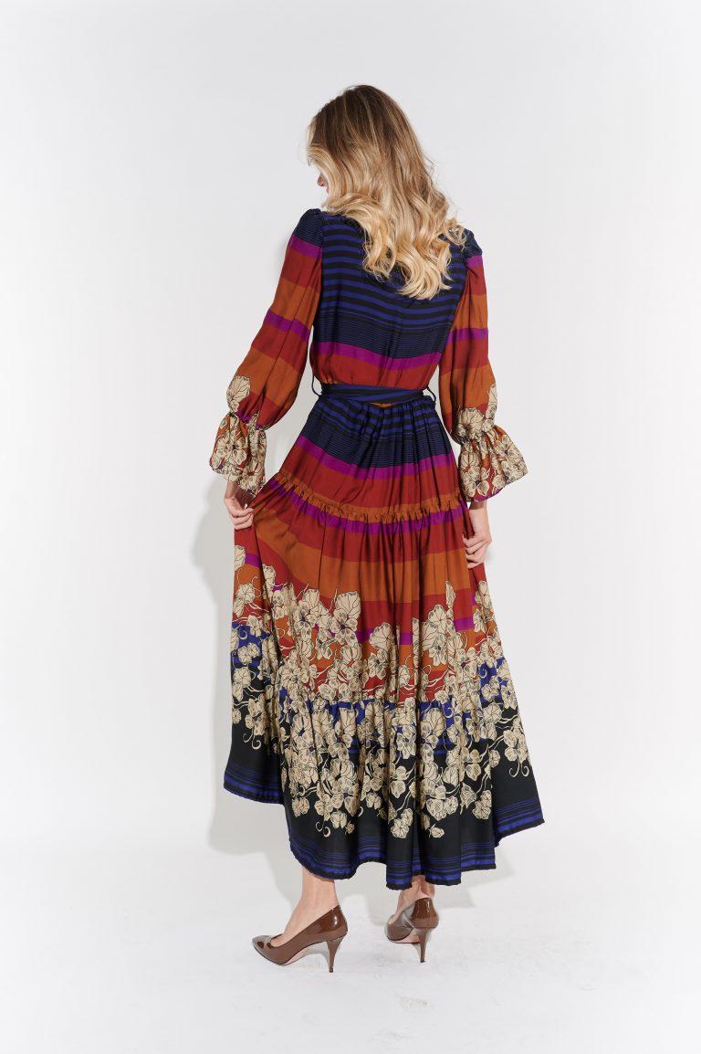 Hippi tarzı lacivert jarse elbise