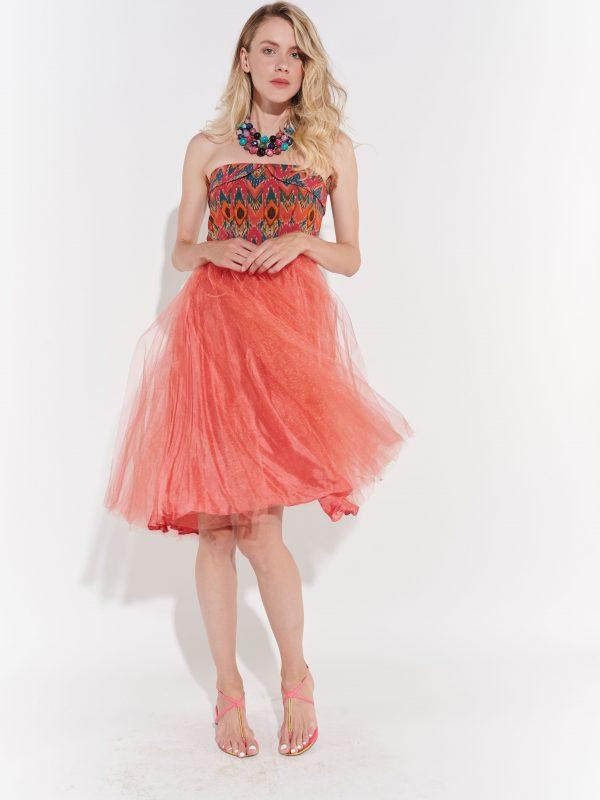 50ler vintage turuncu pembe straplez parti elbisesi