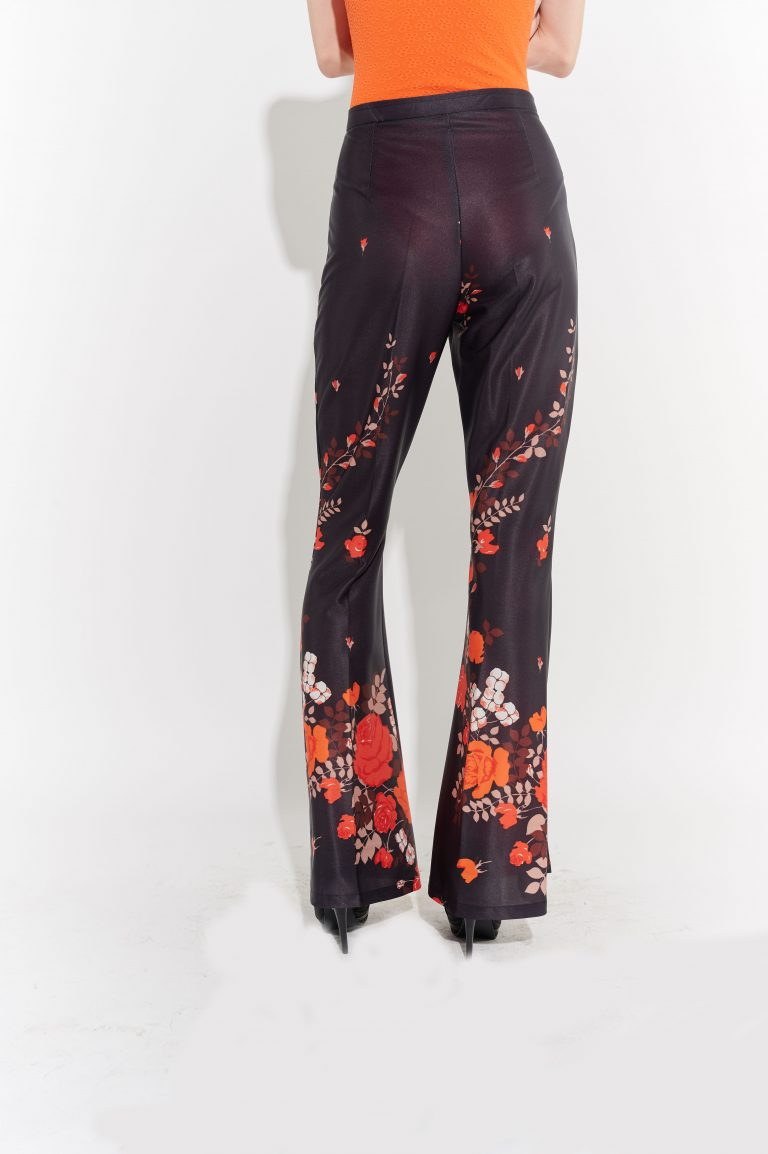 Gül motifli saten retro siyah pantolon