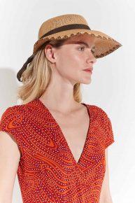2000ler kahverengi kurdeleli hasır şapka