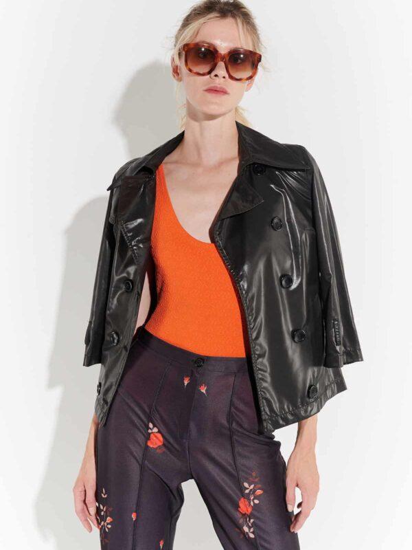 70ler tarzı retro kısa ceket 2000ler polyester belden kuşaklı kısa önden düğmeli ince