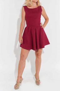 Bordo Mini Elbise, 2000'ler bordo renk kolsuz belden aşağısı pileli, diz üstü, mini elbise