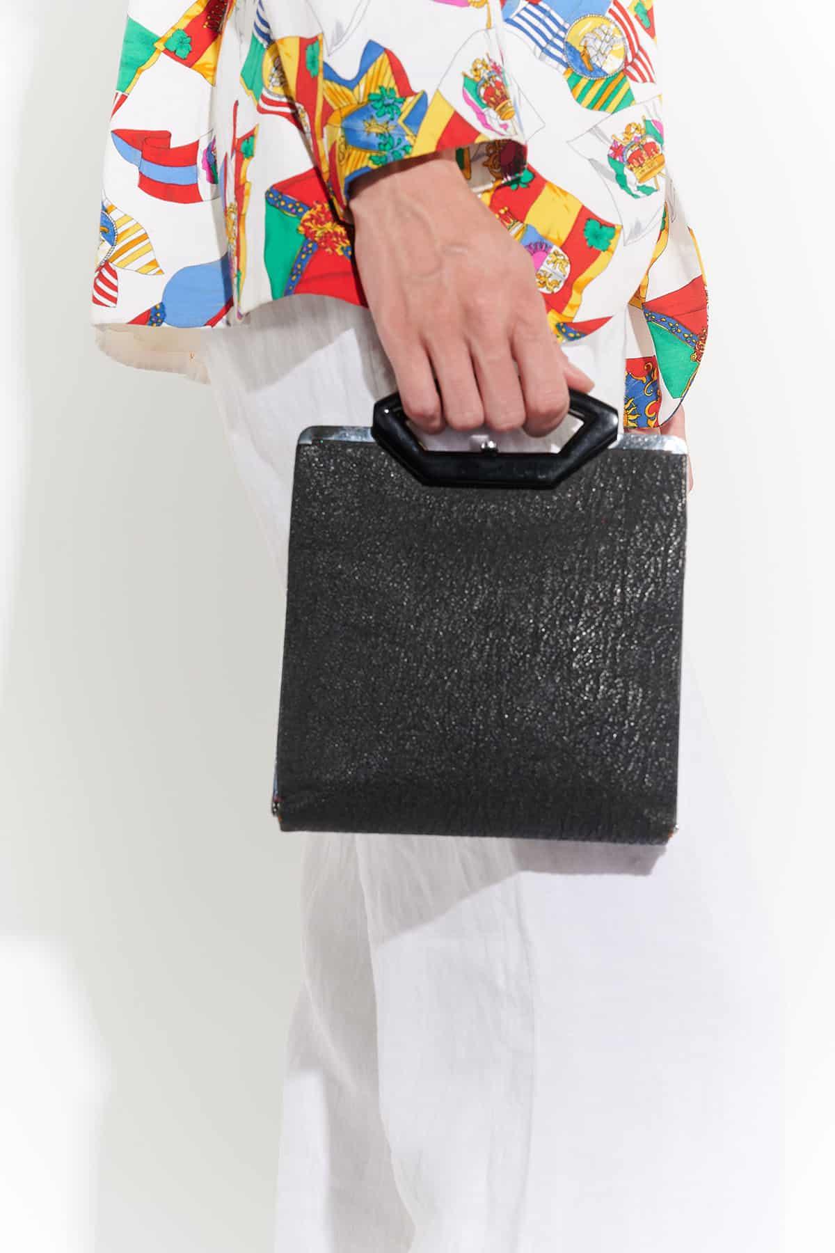 90'lar baskılı deri minimal maskülen tarz el çantası