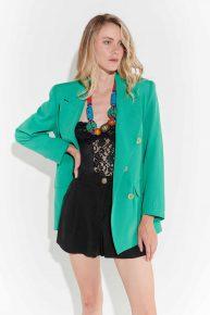 90lar floresan yeşil geniş yakalı maskülen vintage ceket