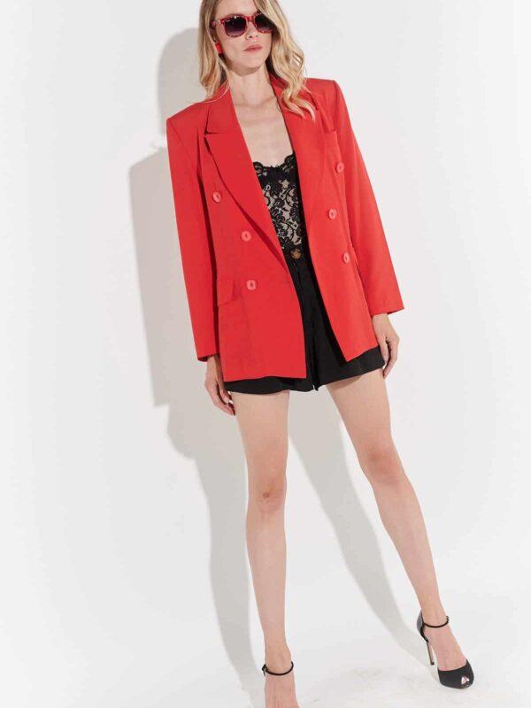 90'lar maskülen kırmızı gabardin geniş yaka vintage ceket