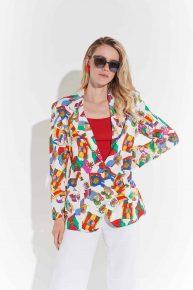90lar Versace tarzı denizci flama desenli maskülen ceket