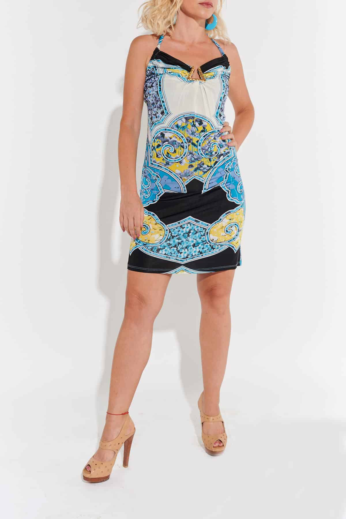 90lar vintage elbise Roberto Cavalli streç jarse beyaz üzeri sarı mavi siyah desenli göğsü üçgen metal süslü.