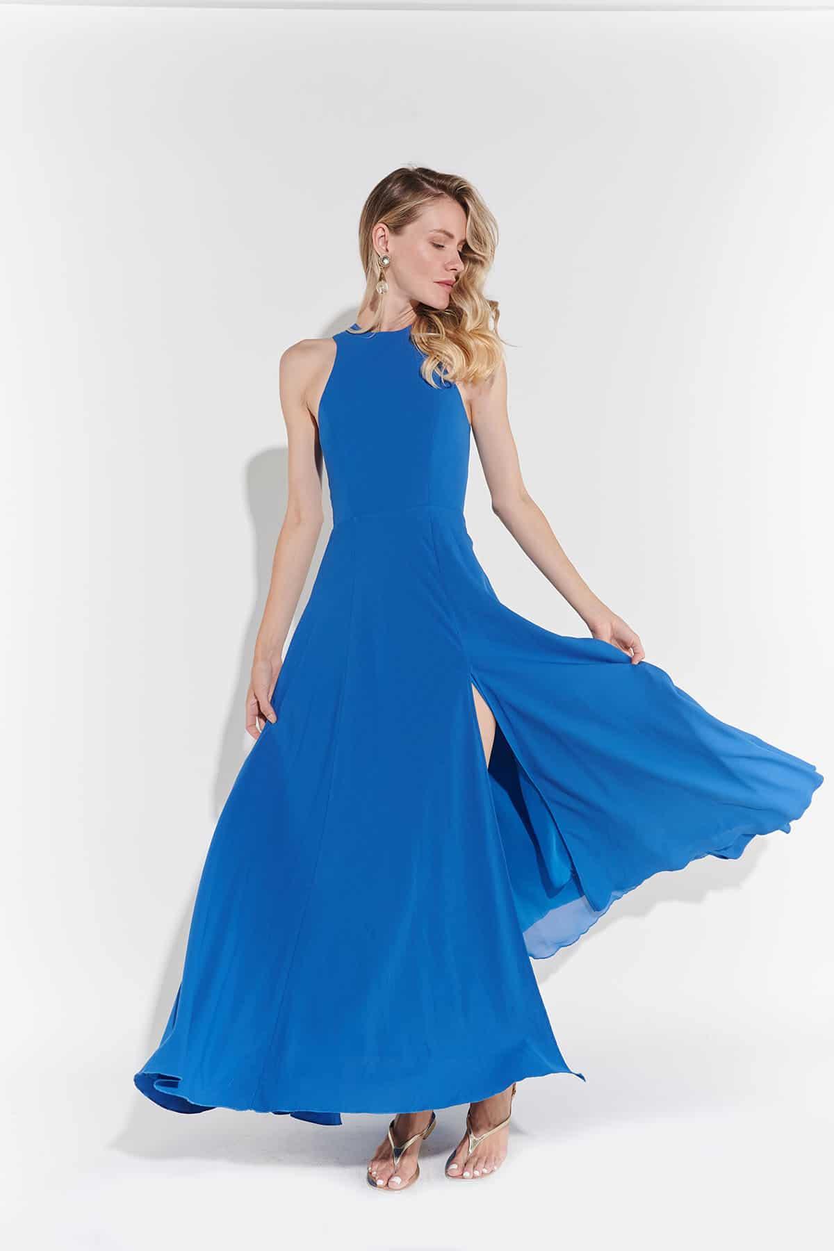 90lar likra omuzları açık modern sırt fermuarlı açılan derin yırtmaçlı saks mavi elbise
