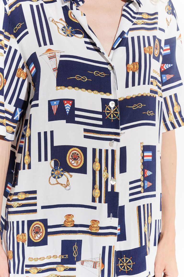 90lar denizci yelkenci desenli lacivert beyaz kırmızı motifli gömlek