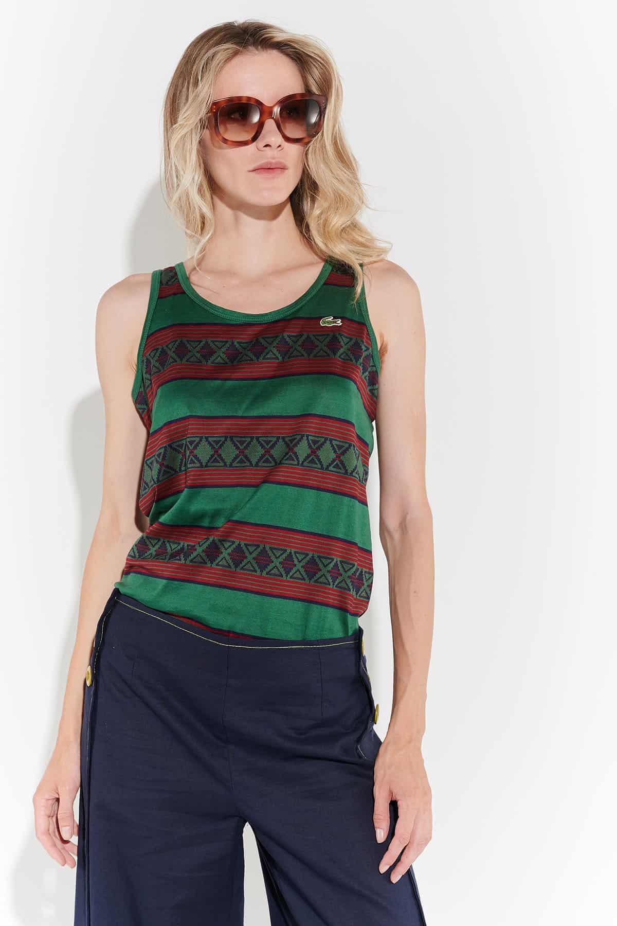 90lar kolsuz bordo yeşil çizgili merserize Lacoste tişört top