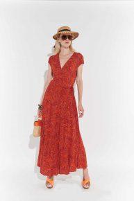 70ler kırmızı turuncu desenli poplin ayak bileği maksi boy yandan kuşakla bağlanan elbise