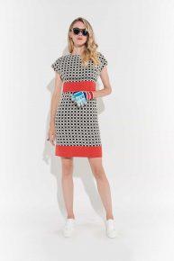 70ler Damalı Elbise, Vintage elbise vintage kıyafet minimalist damalı dizüstü kırmızı kemer şeritli
