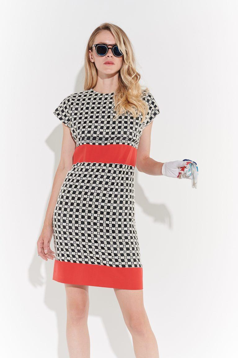 70ler retro damalı dizüstü kırmızı kemer şeritli elbise