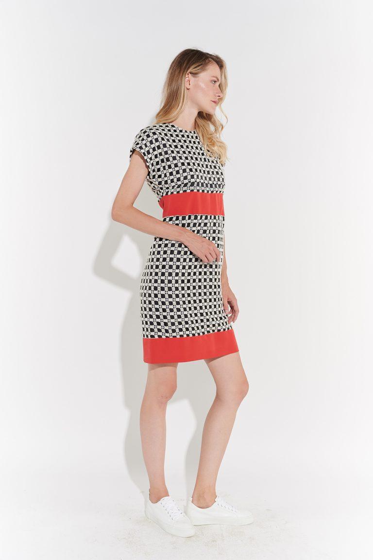 70ler minimalist damalı dizüstü kırmızı kemer şeritli elbise