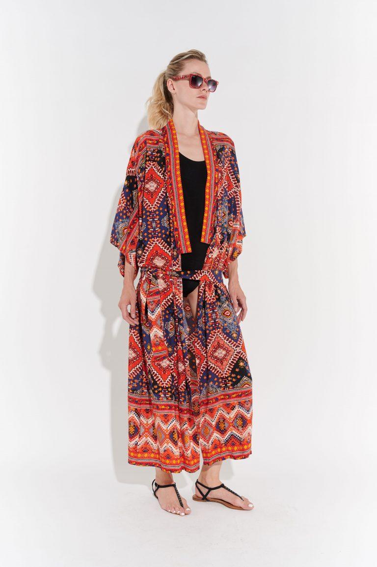 Retro Desenli kimono
