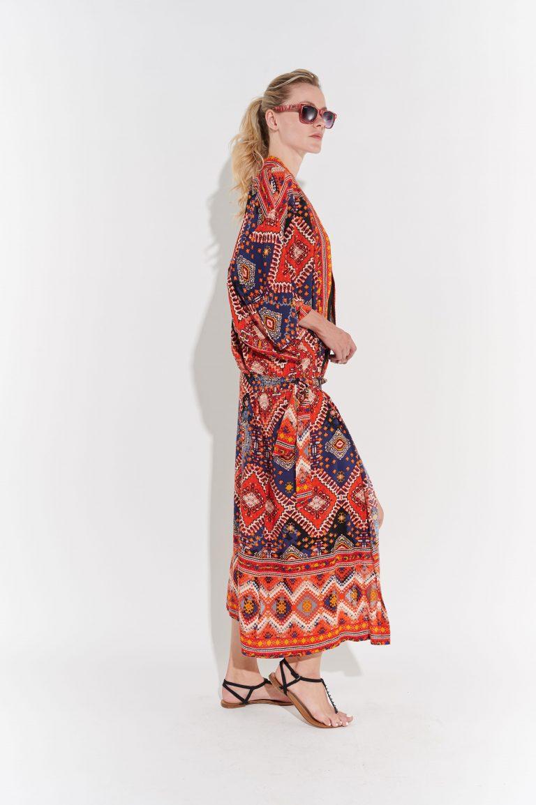 Poplin kumaş retro kimono