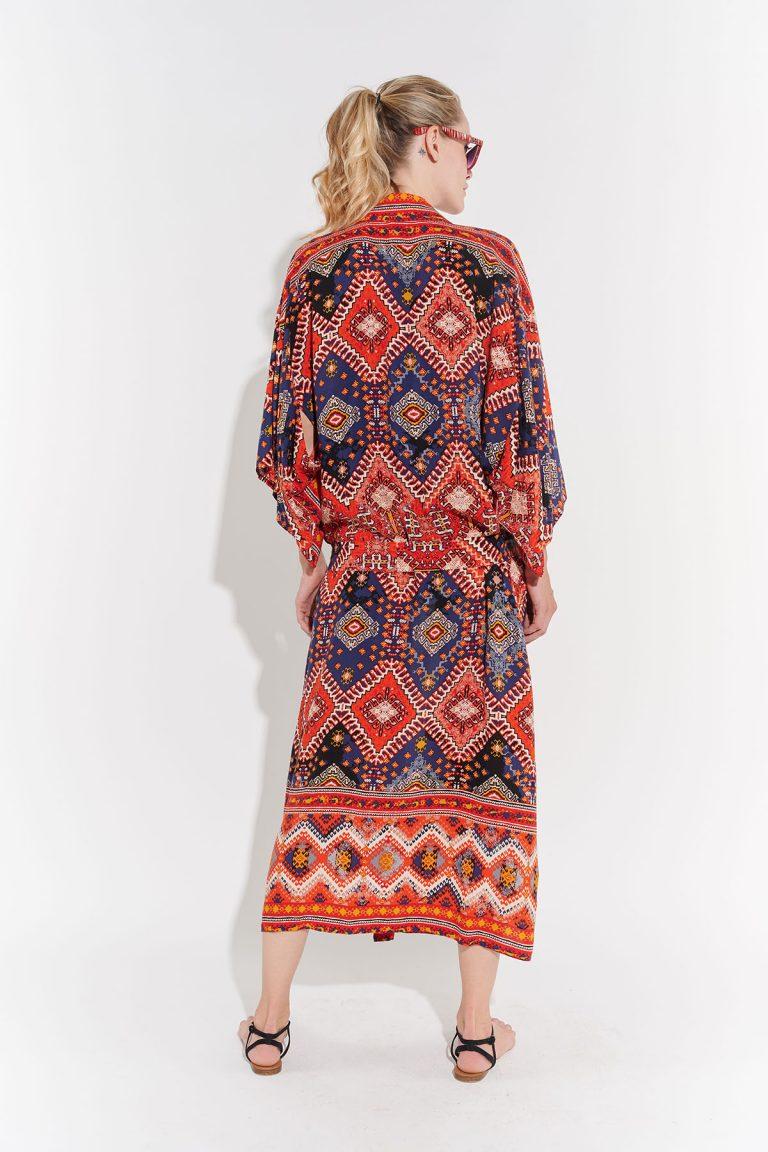 70'ler Poplin Desenli uzun Japon kimono