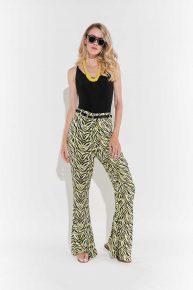 Retro İspanyol Paça Pantolon 70ler modası 70ler elbise 70'ler retro İspanyol paça sarı siyah zebra desenli jarse pantolon