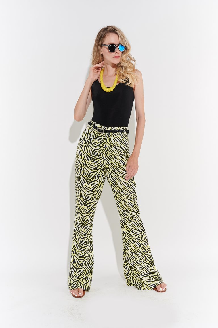 70ler retro İspanyol paça sarı siyah zebra desenli jarse pantolon