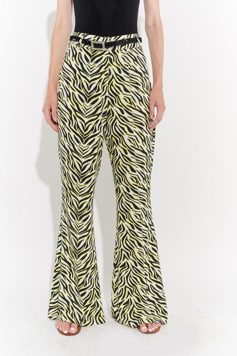 70'ler retro İspanyol paça sarı siyah zebra desenli jarse pantolon
