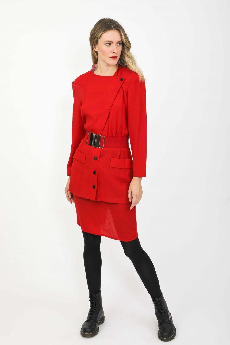 Kırmızı 80ler Elbisesi, İnce Yünlü