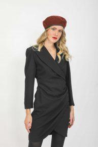 90lar Siyah Geniş Yakalı Elbise, Georges Rech